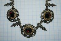 Antique Vintage Sterling Silver 835 Jewelry Necklace Bohemian Natural Garnet