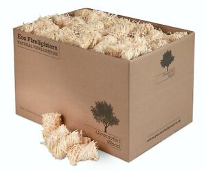 Natural Eco Wood Firelighters - Wood Wool Flame Fire Starters Box of 200