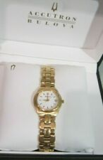 BULOVA ACCUTRON LADIES SWISS GOLD WATCH MODEL 27M02 WITH PACKAGING BARELY USED