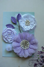 LAVENDER SATIN LACE Mixed Designs 4 Flowers 3Leaves 25-90mm across Green Tara