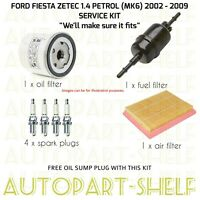 FORD FIESTA 1.4 ZETEC 02-09 SERVICE KIT FILTERS (MK6) PETROL OIL AIR FUEL PLUGS