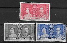 JAMAICA , CORONATION ISSUE,1937 , GEORGE VI & ELIZABETH , SET OF 3 ,  PERF , M/H