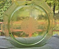 "Anchor Hocking Glass Depression Princess Green Vaseline 10"" Cake Plate 3 Footed"