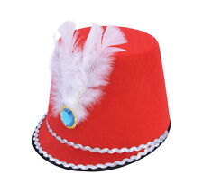 Red Majorette Hat Toy Soldier Boy Fancy Dress Costume Marching Band Accessory