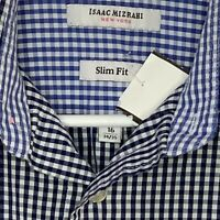 Isaac Mizrahi Mens Designer Shirt LS Blue Checkered 16 34/35