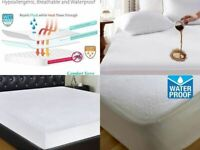 Water Proof Mattress Protector Incontinence Fitted Sheet Single Double King