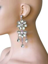 """4.5"""" Long Large Cascade Floret Earrings,Clear Acrylic Pageant,Drag Queen, Bridal"""