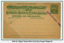 "Nicaragua Postal Stationery PC - H&G #59 2c Green ""Habilitado 1904"" SHIFTED $$$"