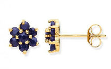 9CT HALLMARKED YELLOW GOLD GENUINE BLUE SAPPHIRE CLUSTER 4.5MM STUD EARRINGS