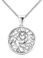 Círculo de Plata Colgante de Acero Inoxidable Plateado Clavícula Cadena Collar 857