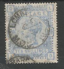 SG183a THE 1884 QV 10/- PALE ULTRAMARINE (LD) FINE  USED CAT £550