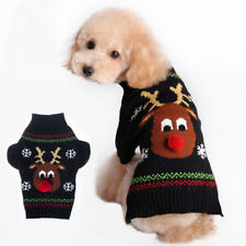 Pet Small Dog Knit Sweater Christmas Reindeer Clothing Pup Coat Jacket Chihuahua
