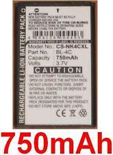 Batería para NOKIA 2650 5100 6100 6300 7200 7270 C2-05 BL-4C BL4C 750mAh