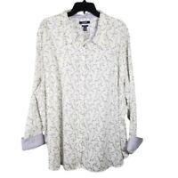 Chaps No Iron Womens White Purple Floral Button Shirt Blouse Sz 3X Plus Size