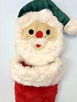 "Christmas Hanging Stocking 34"" Chrisha Playful Plush Santa Huge Vintage"