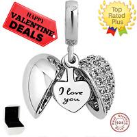 Sterling Silver I Love You Open Heart CZ Dangle Bead for European Charm Bracelet