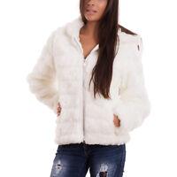 Pelliccia eco donna giaccone giubbotto cappuccio cappotto corto nuovo CR-1789
