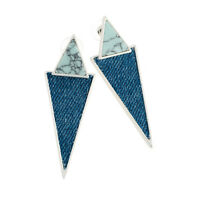 Ladies Silver Coloured Blue Shell Effect Denim Triangle Drop Earrings