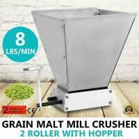 Homebrew Grain Mill Barley Grinder Malt Crusher 2 Roller with Hopper US STOCK