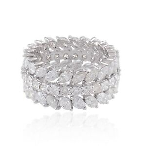 Solid 14K White Gold Natural HI/SI Marquise & Round Diamond Band Ring Jewelry