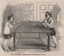 ANTIQUE 1845 PRINT VINTAGE BILLIARDS SNOOKER POOL TABLE BALL MATCH CUE GAME