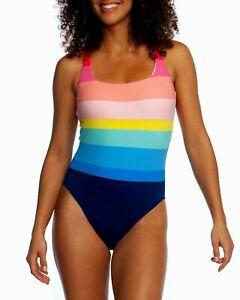 NWT La Blanca Stripe Tastic Mio Tank Swimsuit Size 4 Multi Rainbow  14203
