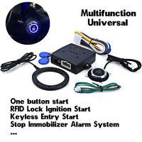 Car RFID Alarm Lock Keyless Engine Push Start Button Entry Immobilizer System
