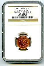 2002 NO 'P CANADA CENT NGC MS67 RD 1952-2002 JUBILEE BUST NON MAGNETIC ZINC RARE