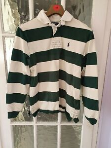Polo Ralph Lauren  Size  Large Rugby Shirt Green &Cream in  good Condition