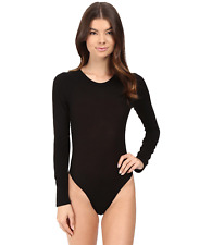 NWT Only Hearts Women's Featherweight Rib Long Sleeve Bodysuit Black Size Large