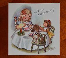 Vintage UNUSED Christmas Card ©1946 MARJORIE COOPER GIRL DOG DOLL RUST CRAFT