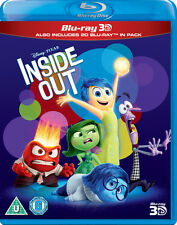 Inside out 3d / 2d Blu-ray Pixar 2015 Classic Official Disney UK 2 Disc Set MINT