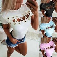 Womens Summer Bandage T-shirt Crop Top Casual Crew Neck Short Sleeve Tops Blouse