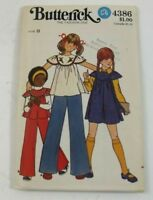 Butterick 4386 Sewing Pattern Girls Dress Top And Pants Size 8 Uncut Vintage