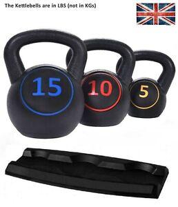 3pcs Kettlebell Set Kettlebells Weight Weights Sets Exercise Gym+Rack Stand