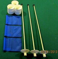 "PUTTING GREEN PACKAGE - 3 POLES - 3 BLUE FLAGS - 3 ALUMINUM - 4 1/4"" CUPS"