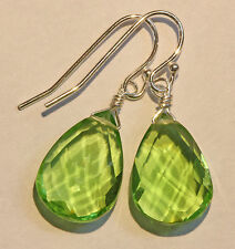 Green Quartz Faceted Drop Sterling Silver Earrings French Earwire Pear Shaped