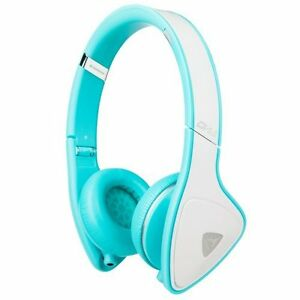 Monster DNA On-Ear Headphones White/Teal NEW Great Sound WIRED
