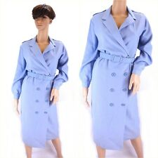 Vintage 1980s Pale Blue Sky Wiggle Pencil Dress Double Breasted - Size 10/12UK