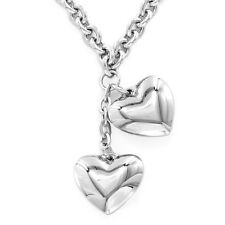 Womens Fashion Heart Pendant Silver Stainless Steel Rolo Choker Necklace 18inch