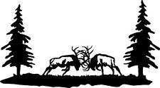 6 point FIGHTING BULL ELK Scene truck window tailgate decal bow archery hunt