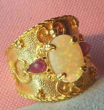 14k Solid Gold Etruscan Byzantine Style Genuine Ethiopian Opal Ring skaisMA17