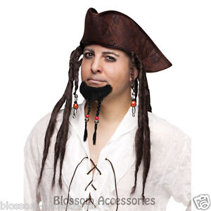 A323FW Pirates of Caribbean Jack Sparrow Black Braided Goatee with Beads