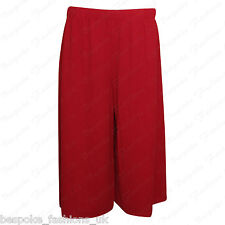 Ladies Womens Elasticated Stretch Print Wide Leg Culottes Shorts Plus Size 8-30 Red 20-22
