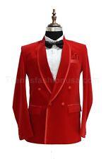 Men Elegant Luxury Designer Red Smoking Velvet Taxedo Jacket Party Wear Blazers