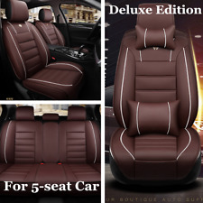 Deluxe Full Set 5-Seat Car Seat Cover Protector Car Seat Decoration Coffee