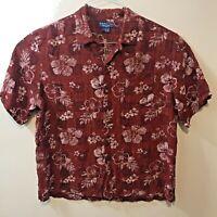Puritan Mens Size XL Hawaiian Shirt Red White Hibiscus Flowers
