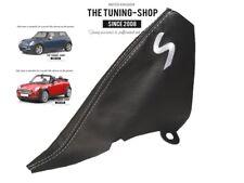 """Per Mini Cooper S-One R50 R53 01-06 Cuffia Freno A Mano Pele """"S"""" Bianco Ricamo"""
