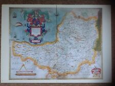Decorative County Map Somerset, Book Plate Print By Christopher Saxton 1576