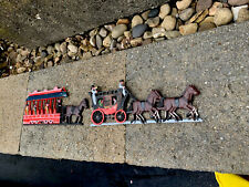 2 VTG. Red Cast Iron Wall Hangings Price Import Horse Drawn Carriage Train Decor